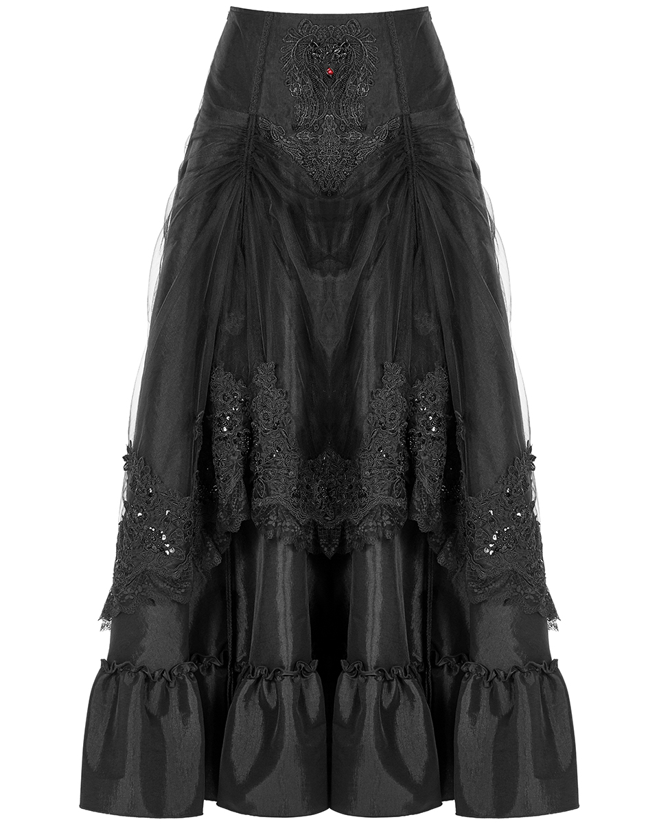 Punk Rave Long Gothic Bustle Skirt Red Velvet Damask Steampunk Victorian Baroque