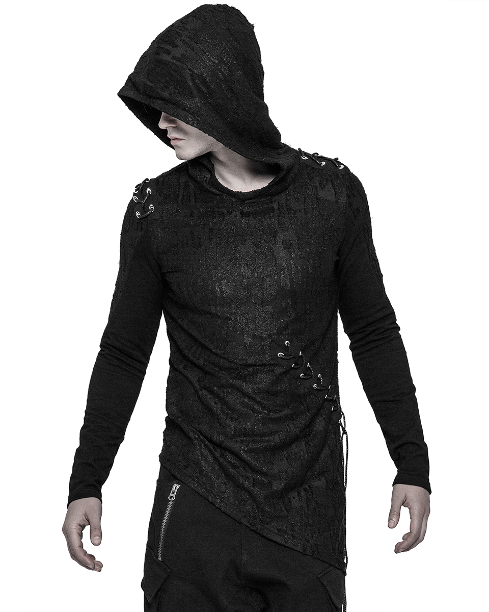 Punk Rave Decay Mens Hoodie Top Black Goth Dieselpunk Punk Dystopian Hooded