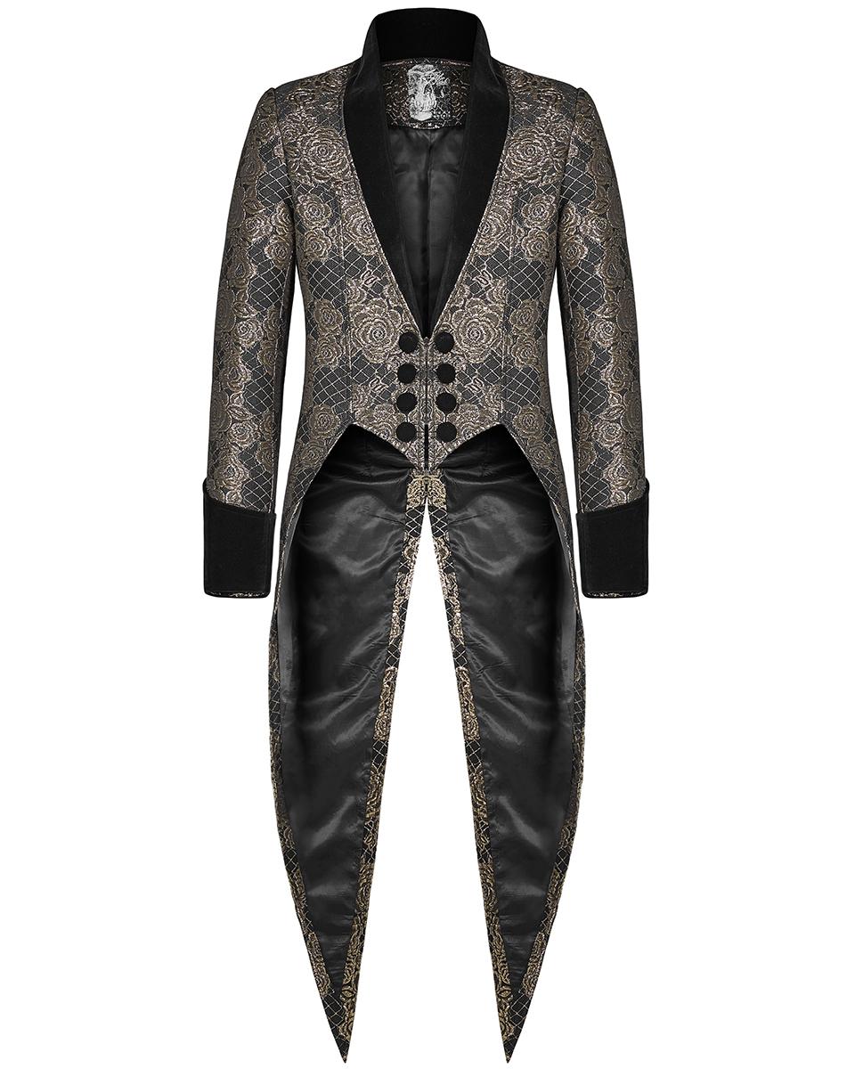 giacca in broccato di colore nero con motivo floreale dorato Giacca blazer da uomo in stile italiano e causal