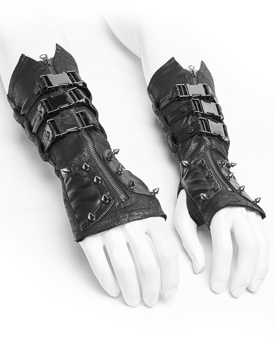 Punk Rave Dieselpunk Gauntlet Gloves Black Faux Leather Gothic Steampunk Sleeves