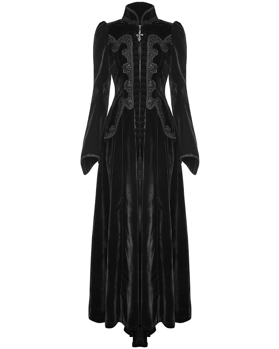 official photos a17f9 ef421 Dettagli su Punk Rave Da donna lungo abito gotico Giacca di velluto Nero  STEAMPUNK VITTORIANO VINTAGE- mostra il titolo originale