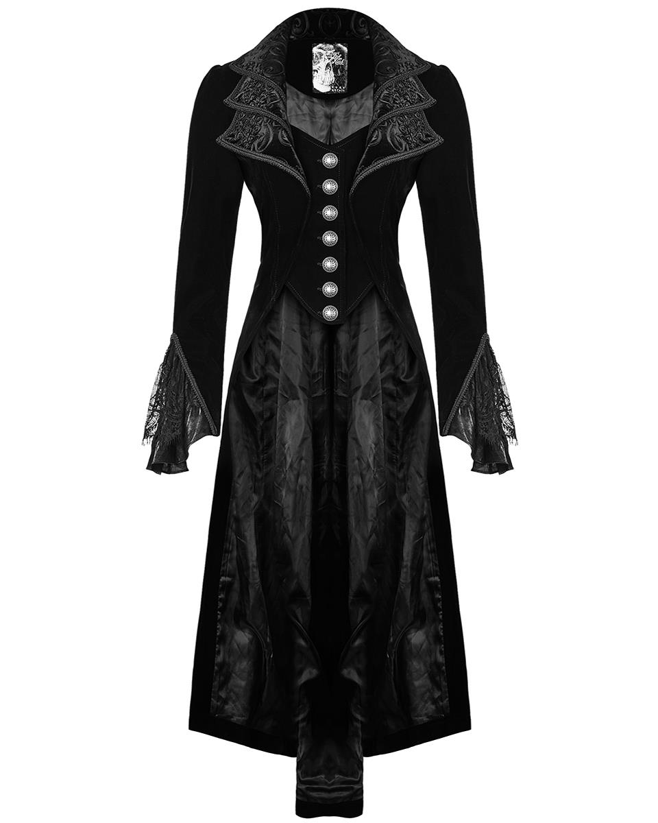 Punk Rave Womens Long Gothic Jacket Coat Dress Black Steampunk Victorian Regency