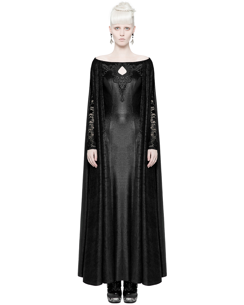 Punk Rave Coven Maxi Dress Long Black Hooded Gothic Witch Occult Cloak