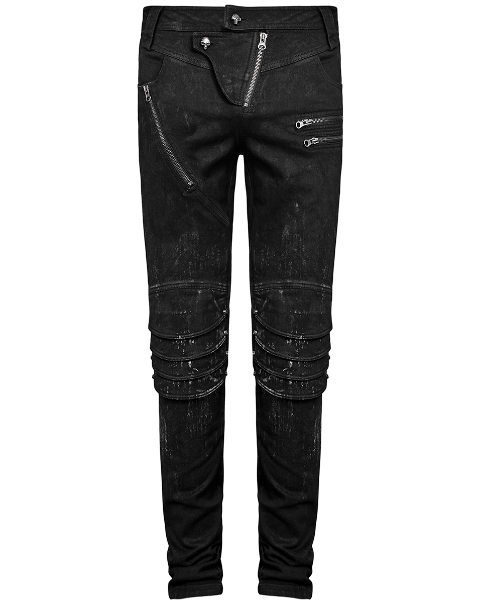 2c5c59c803b1e2 Punk Rave Herren Dieselpunk Jeans Hose Schwarz Gothic Knie ...