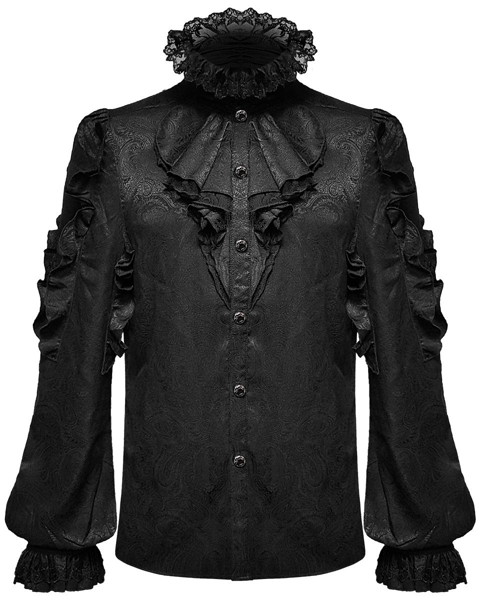Details about  /Devil Fashion Mens Gothic Shirt Top Black Steampunk Vampire Frilled Cravat Jabot