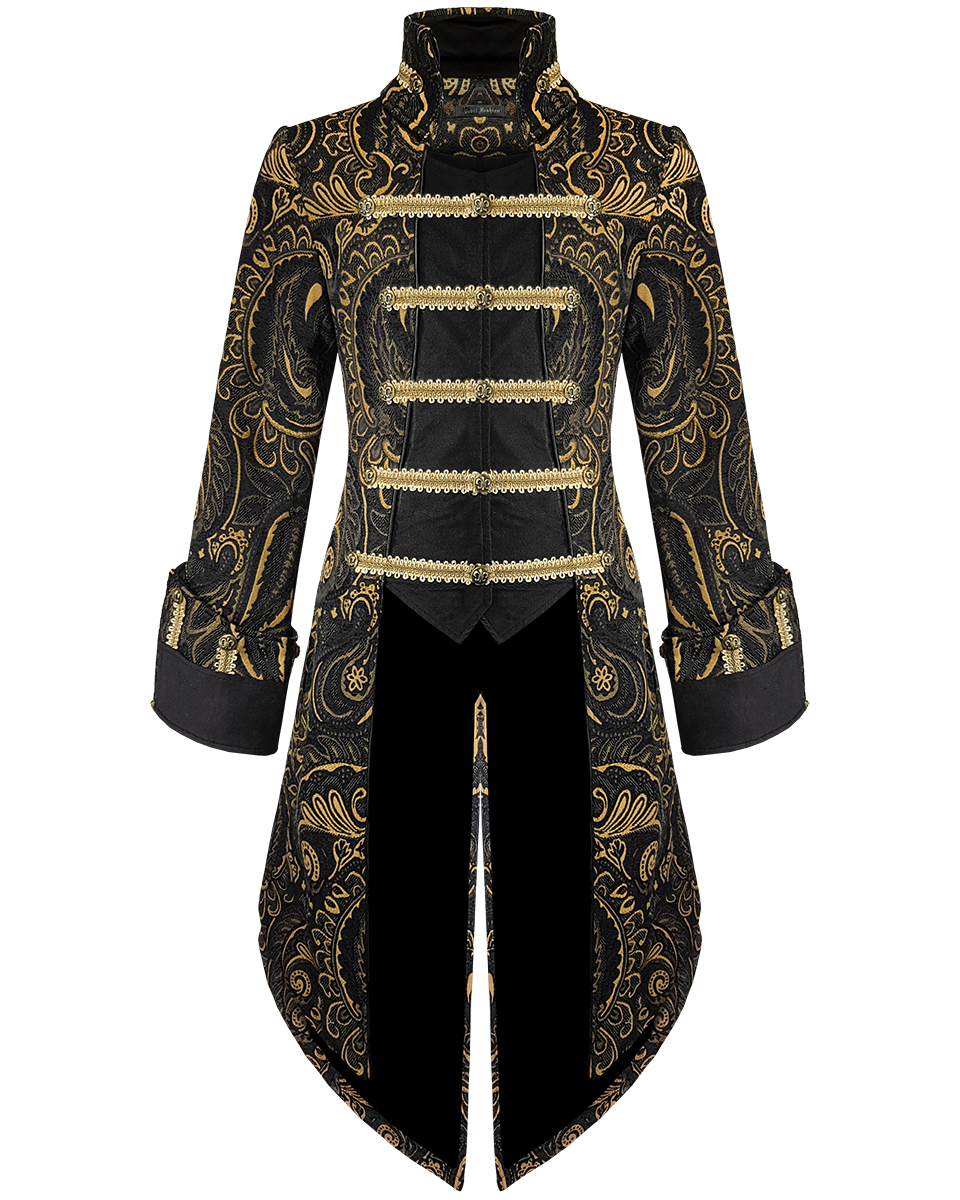 Le Or Veste Titre Noir Gothique Manteau Diable Steampunk D'origine Homme Détails Aristocrate Sur Afficher Fashion Habit hrxdtsQC