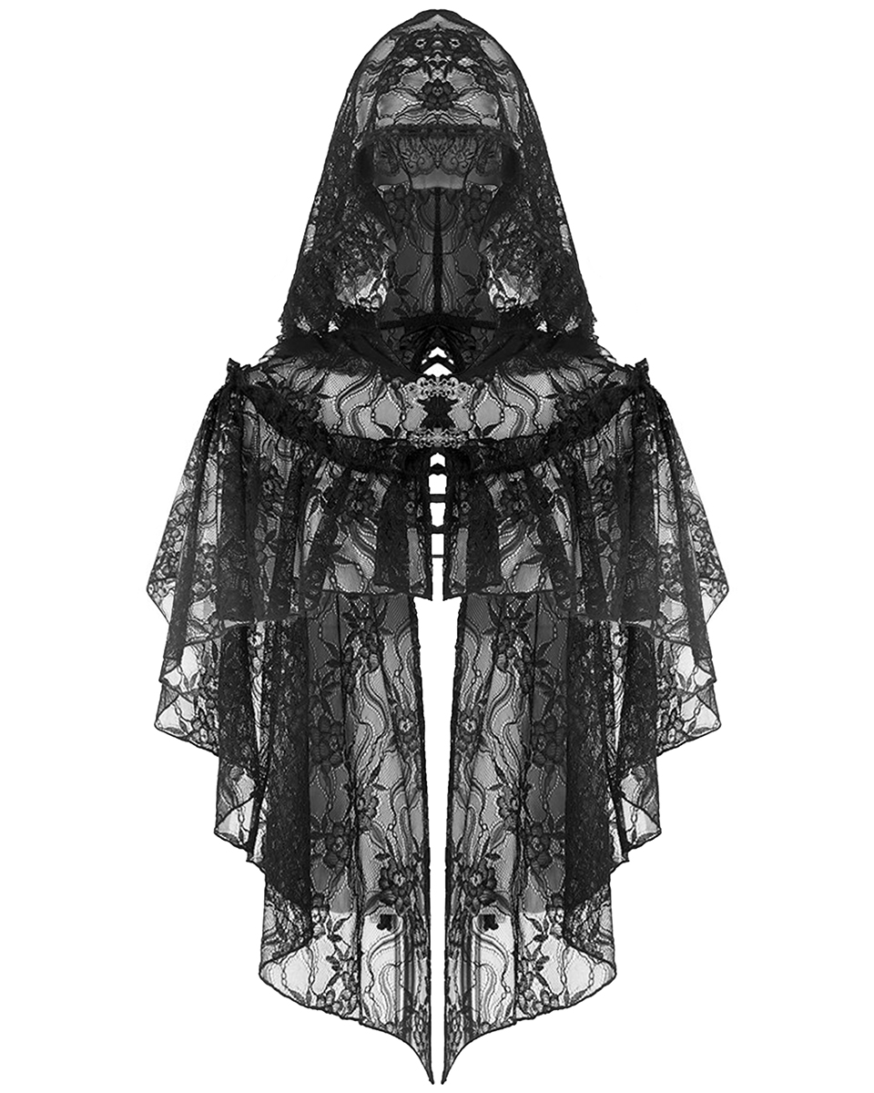 Dark In Love Donna Gothic Cappotto con Cappuccio Giacca Nera Steampunk Vittoriano Pelliccia Finta