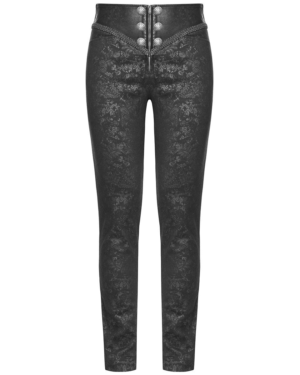 Punk Rave Mens Gothic Steampunk Trousers Pants Blue Brocade Victorian Wedding