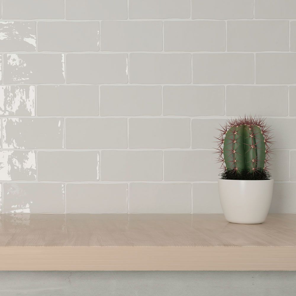 Boutique Brick Light Grey Feather Handcrafted Metro Ceramic Wall