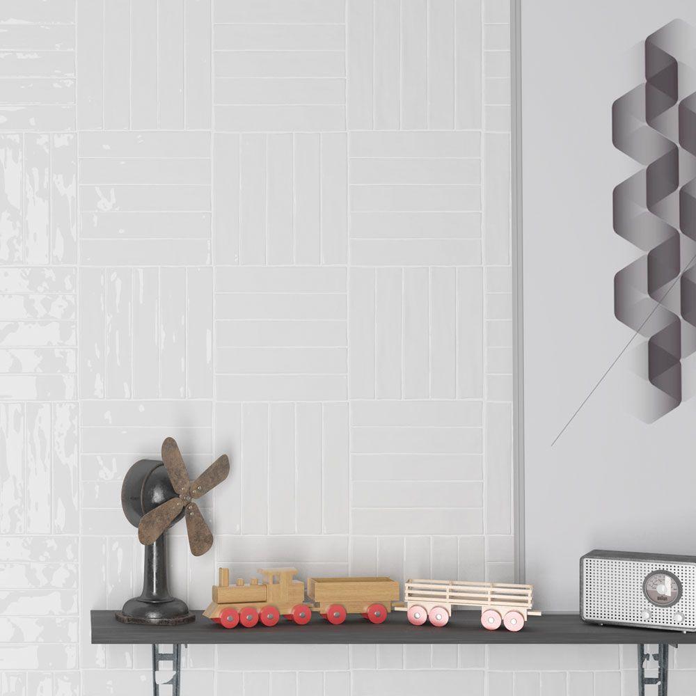 Boutique Brick White Cotton Handcrafted Metro Ceramic Wall Tiles Per