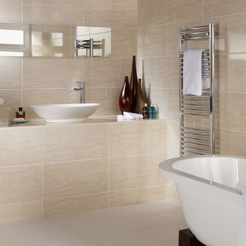 Dorchester Beige Travertine Effect Ceramic Wall 60x30 Tiles Sample ...