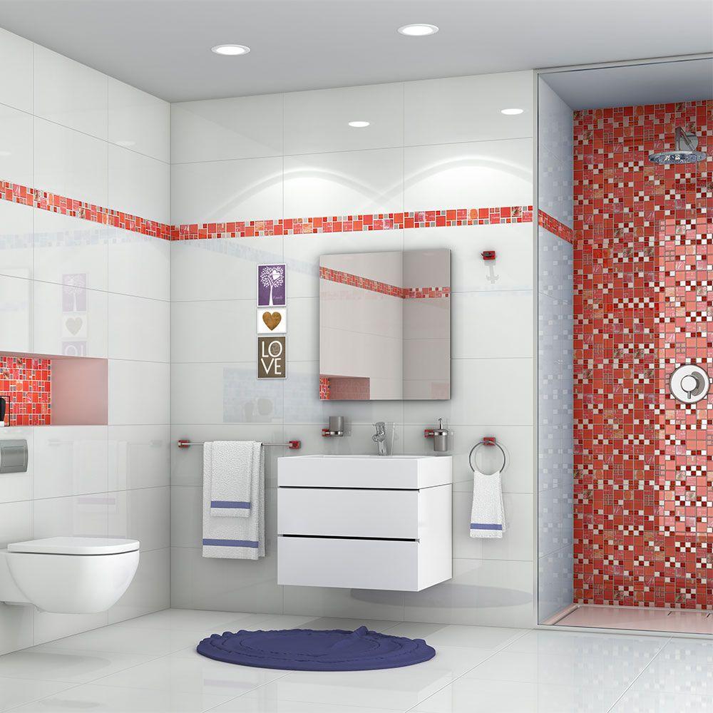 Jamboree Fire Cracker Red Glass & Metal Mosaic Wall Tiles Per Sheet ...