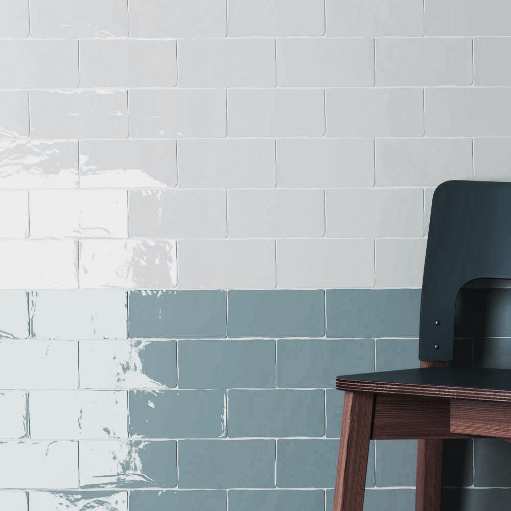 Boutique Brick Blue Denim Handcrafted Metro Ceramic Wall Tiles Per