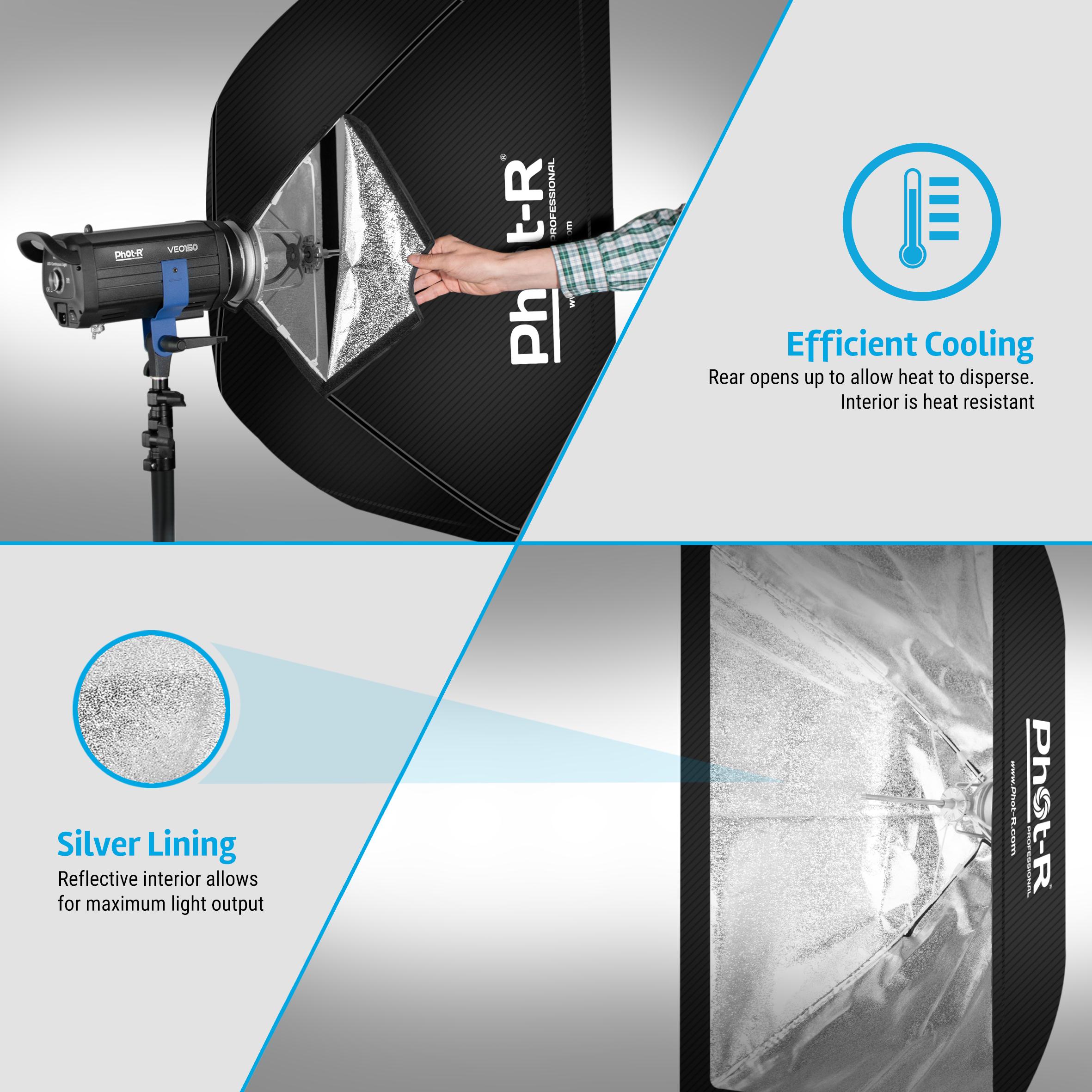 Phot-r 60 x 90 cm Striscia Softbox /& T Forma Bowens Flash Speedlite STAFFA MONTAGGIO