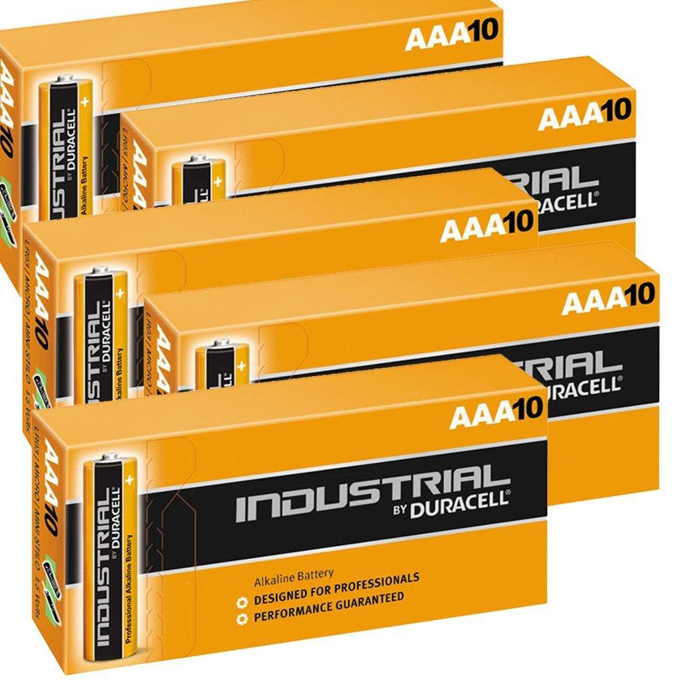 50 Duracell Industrial AAA Alkaline Batteries Replaces
