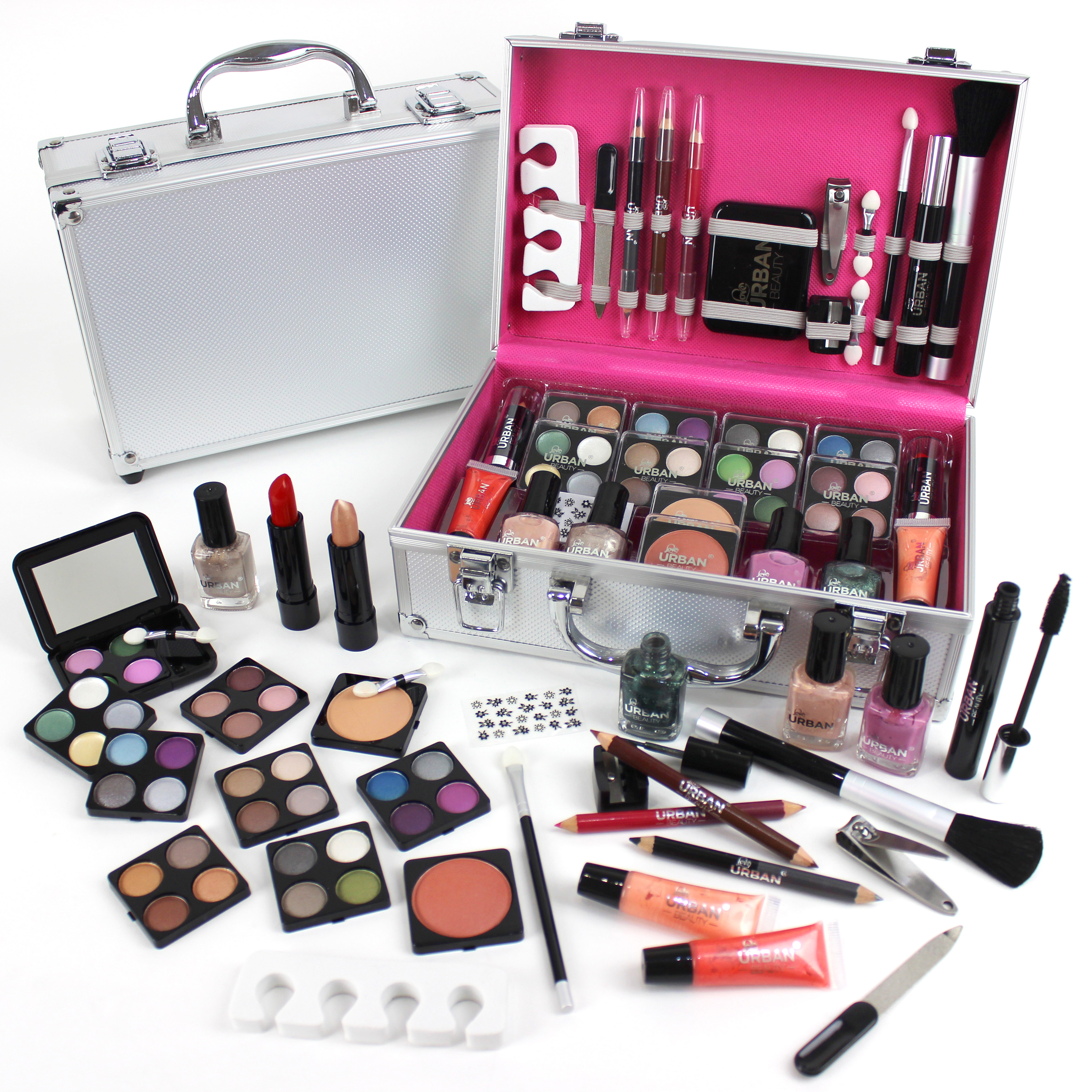 60pcs urban beauty make up set vanity case cosmetics collection carry box kit ebay. Black Bedroom Furniture Sets. Home Design Ideas