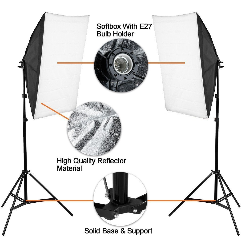 Phot-R 2x 2000W Bulbs 50x70cm Softbox Continuous Lighting Stand Microfibre Cloth