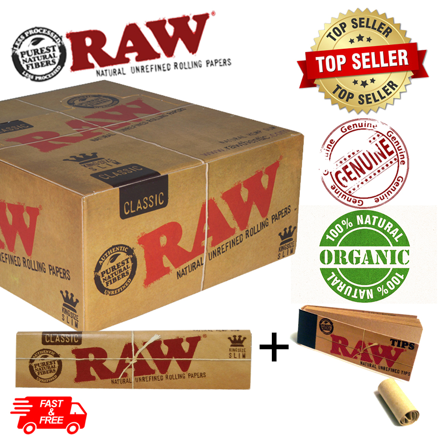 2X RAW 5 Classic Kingsize Slim Rolling Papers and 3 Tips,