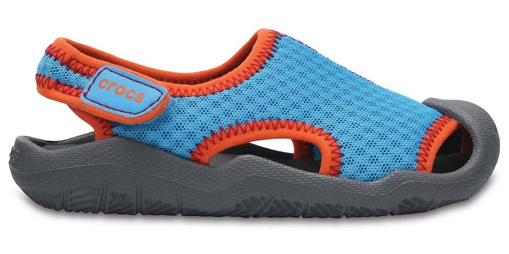 Cerulean Blue//Smoke Crocs Swiftwater Sandal Kids