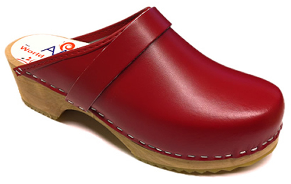 AM-Toffeln 100 Clogs in Red - Wooden Footbed
